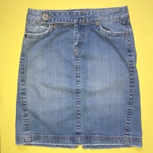 Vintage Denim Skirt/Light Distressed